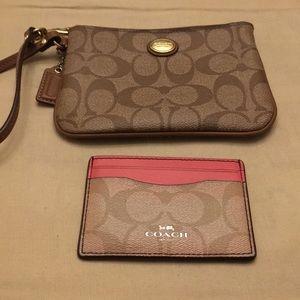 Coach clutch wallet and cardholder bundle